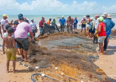 Recogiendo la pesca con redes, Pontal de Coruripe, Alagoas