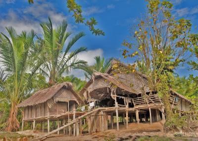 La uma, la casa tradicional construida en palmera de sagú